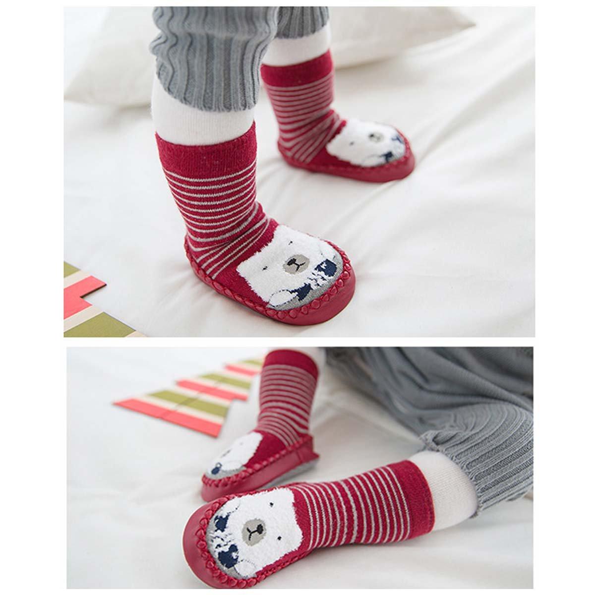 FYGOOD Lot de 3 Paires Pantoufles Chaussettes Anti-d/érapantes Chaussons Premier Pas B/éb/é Unisex gris-pingouin rouge-lapin bleu XS 0-10mois//base 12cm