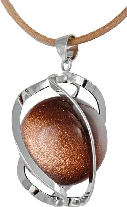 Collana con ciondolo a spirale in pietra d\'oro o pietra di sole con ...