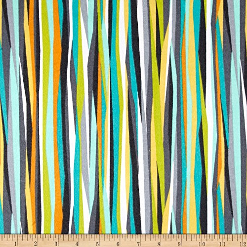 els Current Stripe Seaweed Fabric By The Yard (Michael Miller Flannel Fabric)