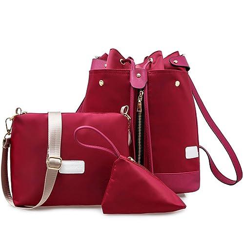 Wewod Mujer Cuero Bolsos de Moda Bandolera Tote Bolsos y Carteras 3 piezas (Rojo)