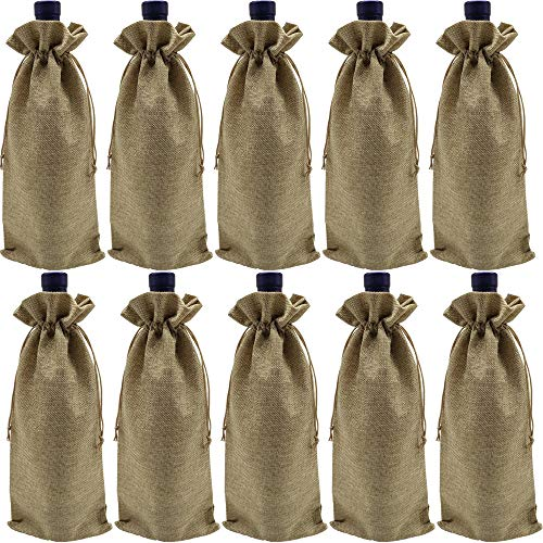 Ankirol 10pcs Wine Bags with Drawstring Burlap Bottle Bags Gift Packaging 6x14 inch Reusable Bottle Wrap Dresses Pouches (Wine -