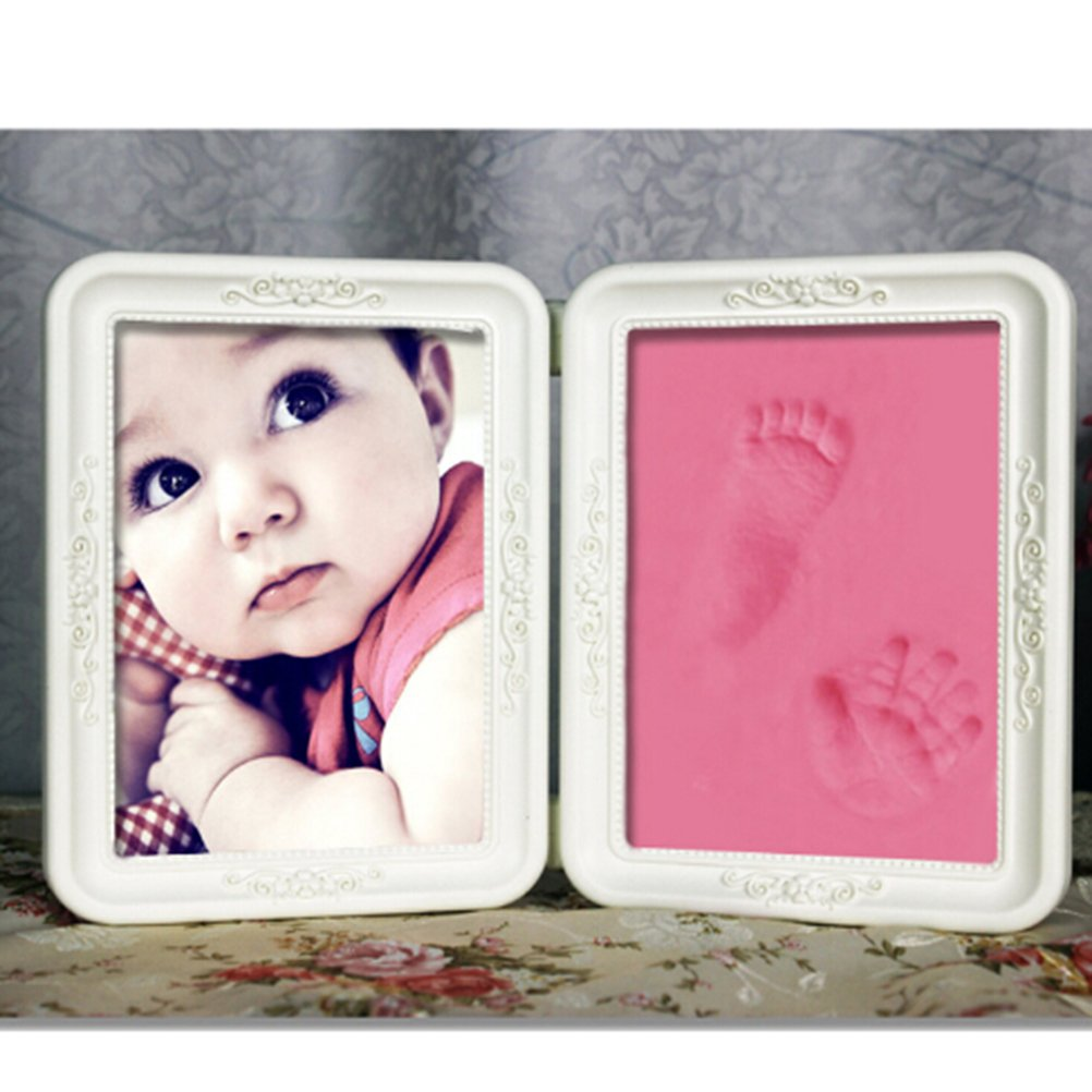 Newborn Baby Handprint and Footprint Picture Frame Kit,Memories Keepsake for Boys and Girls,Baby Photo Album for Shower Registry,Clay Impression Ink Pad,Personalized Table and Wall Nursery Decor,Pink