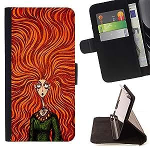 Momo Phone Case / Flip Funda de Cuero Case Cover - Verde Naranja Chica de pelo vestido de la manera - Samsung Galaxy J3 GSM-J300