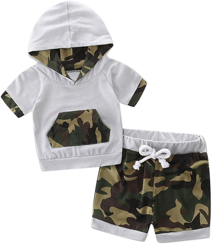 K-youth Conjunto Bebe Niño, 2018 Moda Ropa Bebe Recién Nacido Ropa Bebe Niño Verano Sudadera con Capucha Tops y Camouflage Pantalones Cortos Verano Ropa Conjunto de Bebe