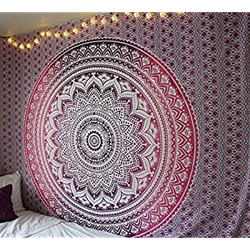 Queen Pink Ombre Tapestry Dorm Bedding Hippie Tapestries Mandala Wall Hanging Bohemian Indian