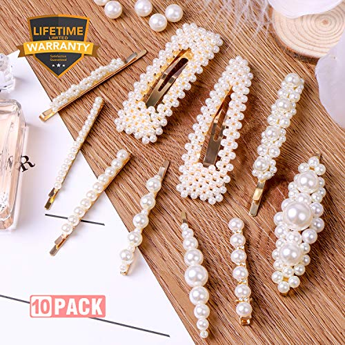 10pcs Pearls Hair Clips for Women Girls, 2019 Fashion Hair barrettes, Hair Clips Pearl for Birthday Valentines Day Gifts Bling Hairpins Headwear Barrette Styling Metal Hair Clip Wedding]()