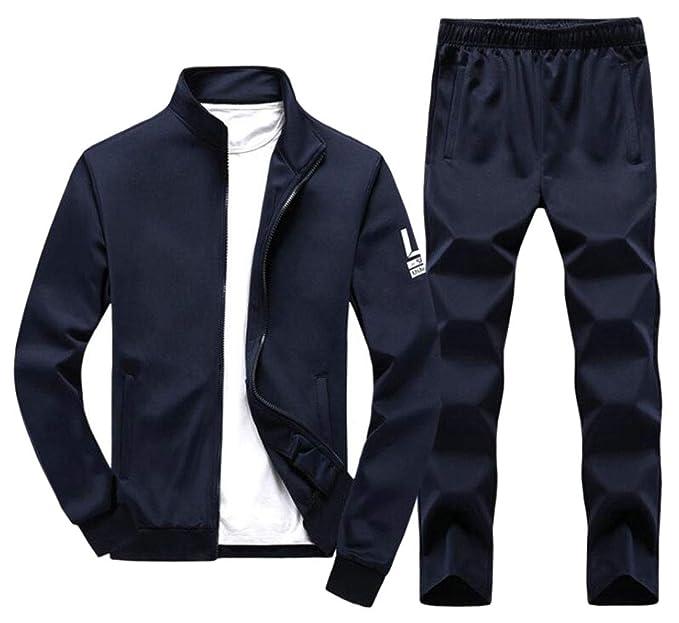 ouxiuli Men's Active Tracksuits 2 Pieces Jacket & Pants Full Zip Jogging  Sweatsuit Dart Blue XS: Amazon.in: Clothing & Accessories