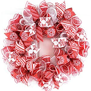 Candy Cane Christmas Wreath | Red White Mesh Christmas Door Wreath | Peppermint Wreath 32