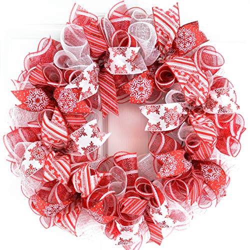 Candy Cane Christmas Wreath | Red White Mesh Christmas Door Wreath | Peppermint Wreath