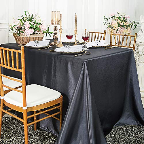 Wedding Linens Inc. 90″ x 132″ Rectangular Seamless Satin tablecloths Table Cover Linens for Restaurant Kitchen Dining Wedding Party Banquet Events – Pewter/Charcoal