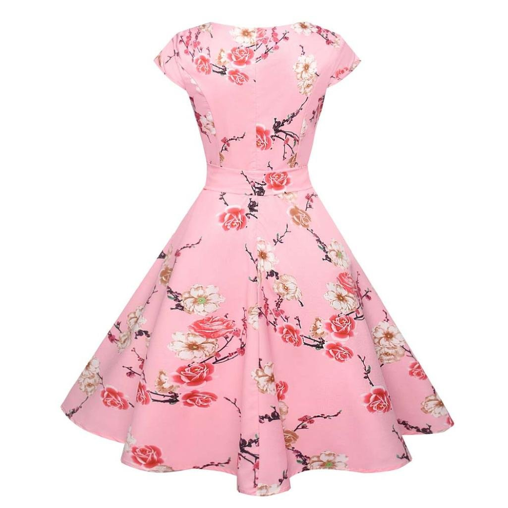 DAYLIN New Women Vintage Bodycon Short Sleeve Casual Retro Evening Party Prom Swing Dress S~2XL: Amazon.co.uk: Clothing