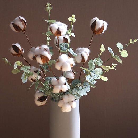 Muebles para el hogar Hojas de eucalipto 4 UNIDS Flores de algodón ...