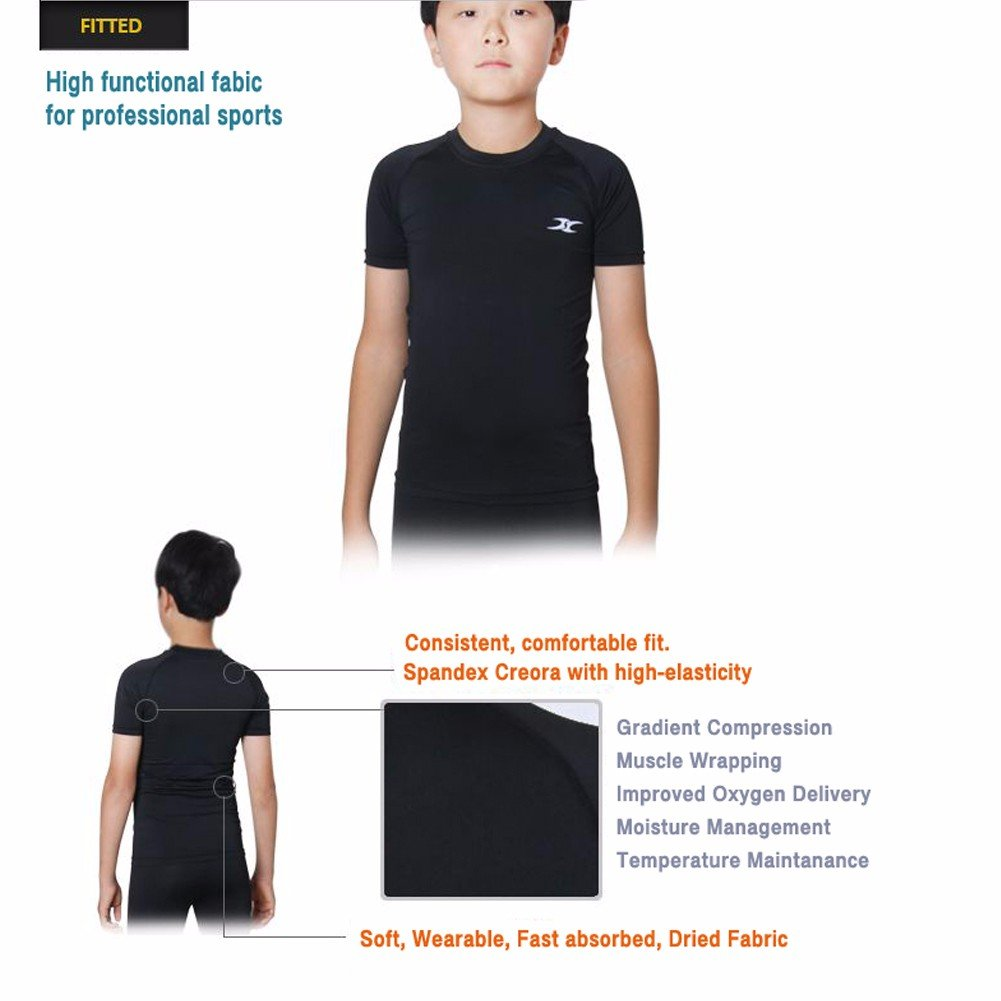 3cd159fd Amazon.com: Kids Compression Shirt Underwear Boys Youth Under Base Layer  Short Sleeve Top SK: Sports & Outdoors
