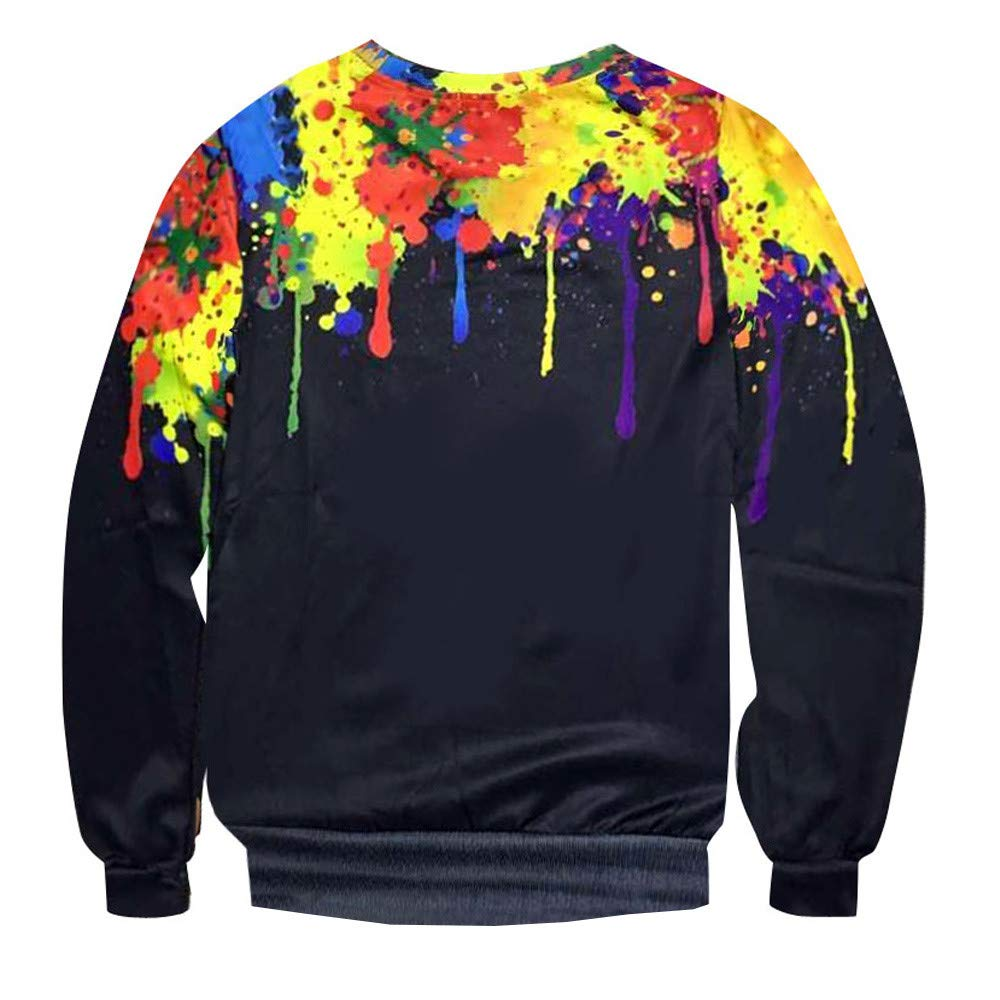 Amazon.com: WM & MW Fashion Mens Pullover Tops Long Sleeve Splash 3D Printed Crewneck Sweatshirt T-Shirt Blouse: Clothing