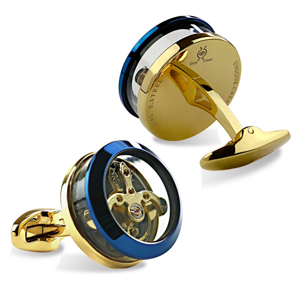Dich Creat Stainless Steel Blue/Gold Contract Colors Golden Tourbillon Cufflinks With Carbon Fiber Inlay by Dich Creat