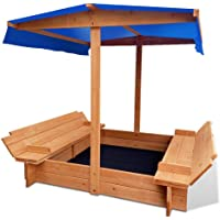 Sandpit Toy Box Kids Canopy Sand Pit Wooden Outdoor Play Set Children Large Seat