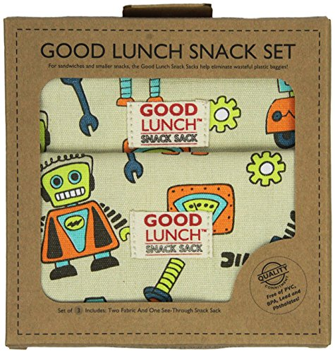 Sugarbooger Good Lunch Snack Set, Retro Robot (Sugarbooger Snack Containers)