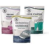 Best Seller Bundle | Cultures for Health | San Francisco Style Sourdough Starter, Kefir Starter Culture & Vegan Yogurt Starter Culture | Homemade, Healthy, Probiotic-Rich Foods