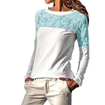 a8f81d7784327 Clearance Women Tops LuluZanm Long Casual Sleeve Knitted Crochet Women Lace  Patchwork Sexy Tops Pullover (