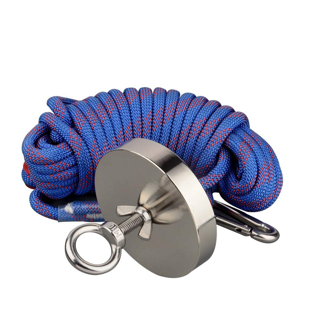 Mutuactor 1200LBS Magnetic Pull Force Neodymium Recovery Salvage Fishing Magnet with 10m Rope
