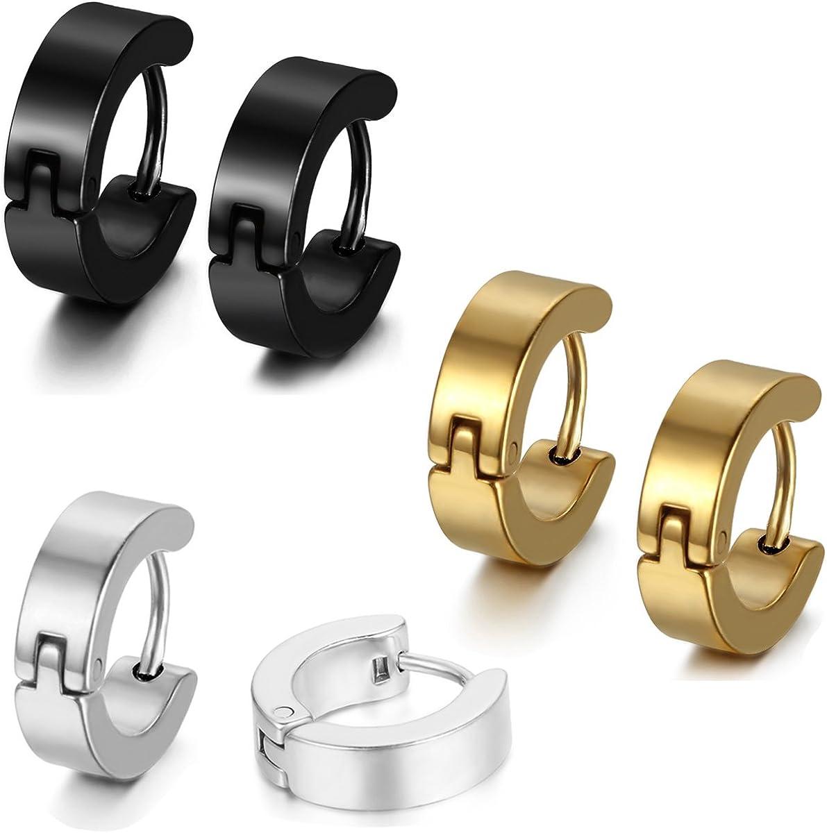 Aroncent Stainless Steel 8 Pairs Mens Small Hoop Huggie Hinged Earrings Set 4mm