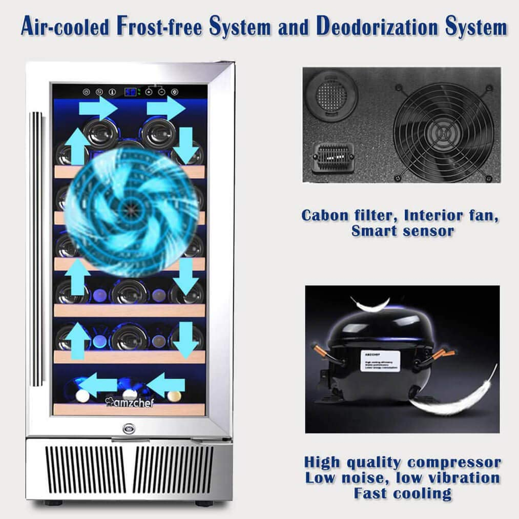 Constant Temperature /& Energy Efficient Quiet AMZCHEF 15 Wine Cooler Refrigerator Built in or Freestanding Wine Cooler