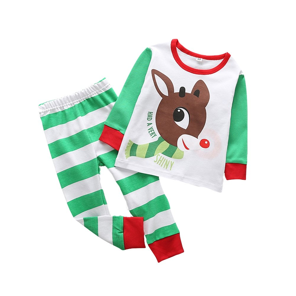 Baywell Boys Girls Christmas Pajamas Toddler Sleepwear Long Sleeve Top+Pants Outfits Set