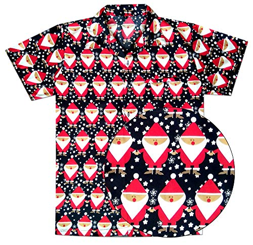Virgin Crafts Men's Christmas Hawaiian Shirt Holiday Santa Claus Party Casual Beach Shirt ()