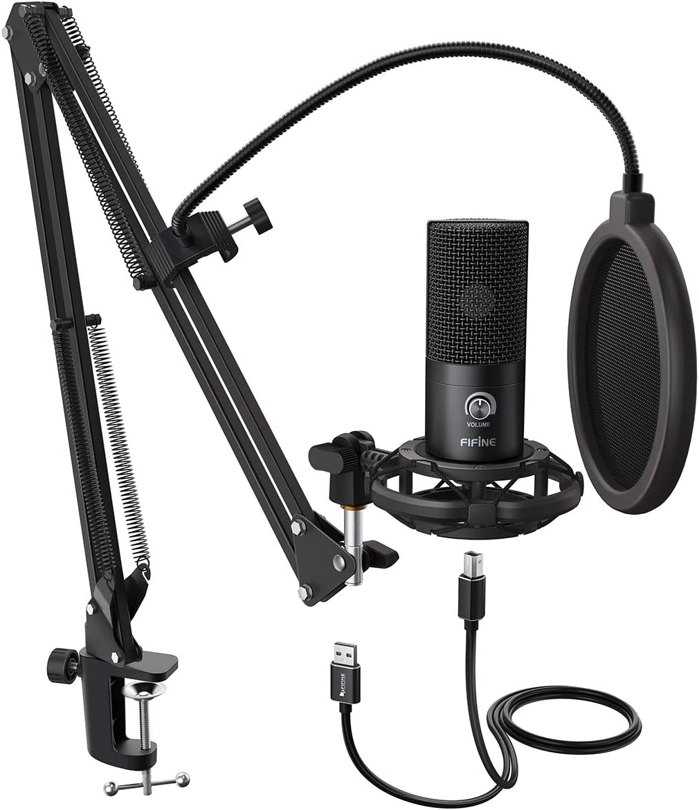 Amazon Com Fifine Studio Condenser Usb Microphone Computer Pc Microphone Kit With Adjustable Scissor Arm Stand Shock Mount For Instruments Voice Overs Recording Podcasting Youtube Karaoke Gaming Streaming T669 Musical Instruments