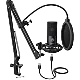 FIFINE Studio Condenser USB Microphone Computer PC Microphone Kit with Adjustable Scissor Arm Stand Shock Mount for…