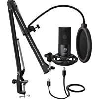 FIFINE Kit de microfone de computador e microfone USB para estúdio condensador com braço de tesoura ajustável, suporte…