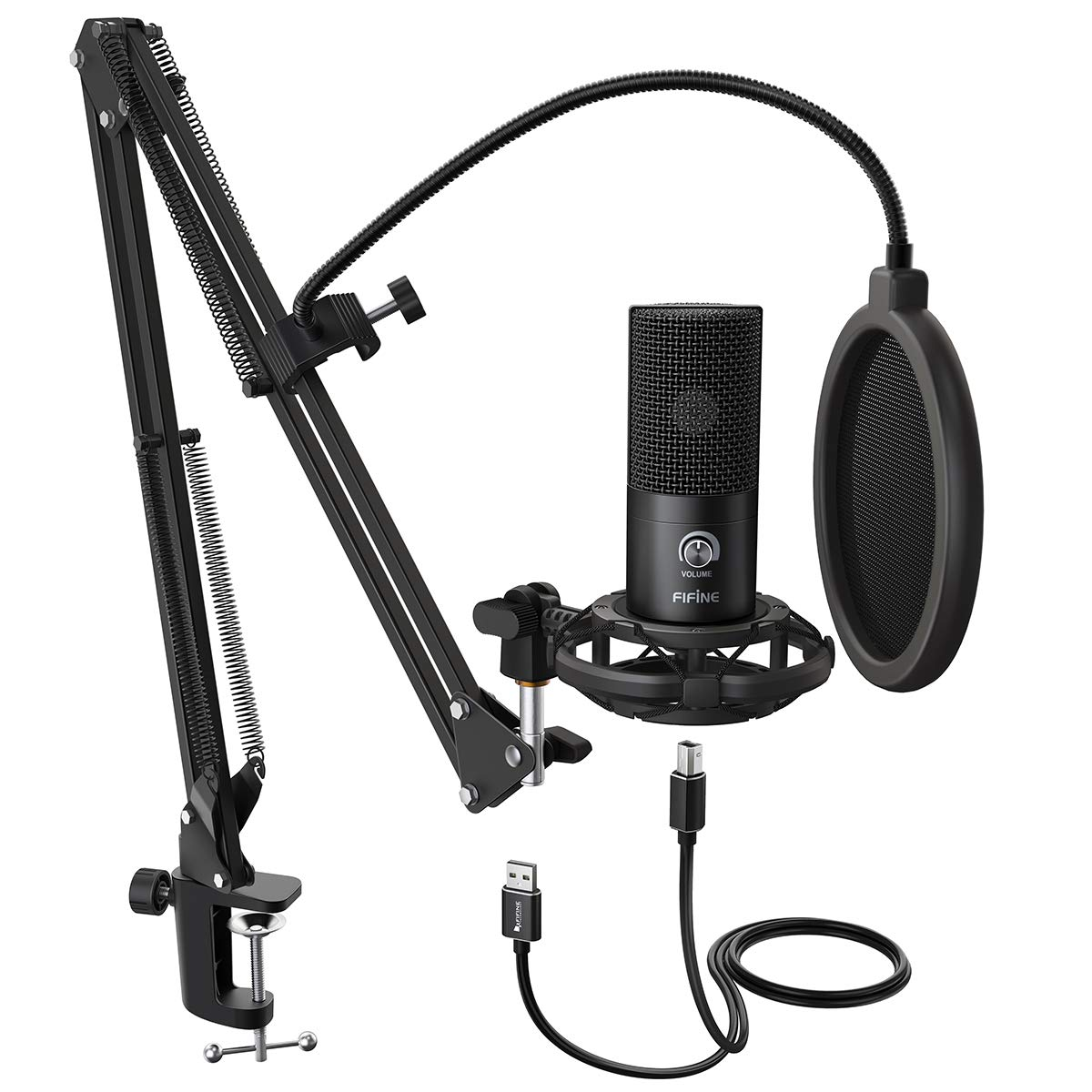 FIFINE Studio Condenser USB Microphone Computer PC Microphone Kit with Adjustable Scissor Arm Stand Shock Mount for Instruments Voice Overs Recording Podcasting YouTube Karaoke Gaming Streaming-T669