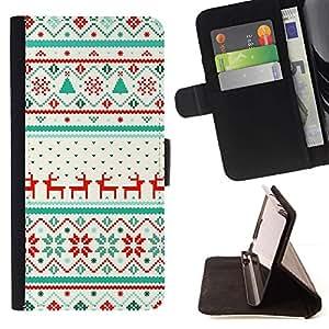 Momo Phone Case / Flip Funda de Cuero Case Cover - Patrón de invierno reno Suéter - Huawei Ascend P8 Lite (Not for Normal P8)