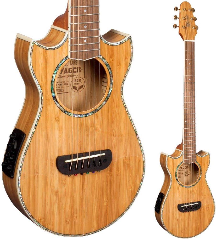 Lindo Eco Voyager SE Guitarra de viaje electroacústica de bambú con preamplificador de mezcla BS3M, sintonizador LCD y Gigbag acolchado