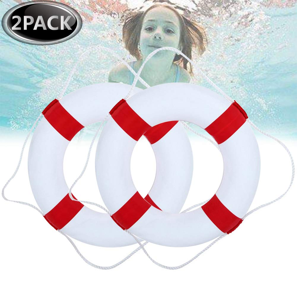 Kriszon 52cm 20.5inch Diameter Welcome Cloth Decorative Life Ring Buoy Home Wall Nautical Decor Safety Life Preserver with Perimeter Rope 2Pack Red by Kriszon
