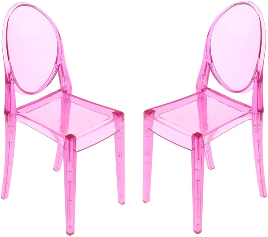 1:6 Dollhouse Furniture Modern Style Ghost Chair Arm Chair Pink Qty 1