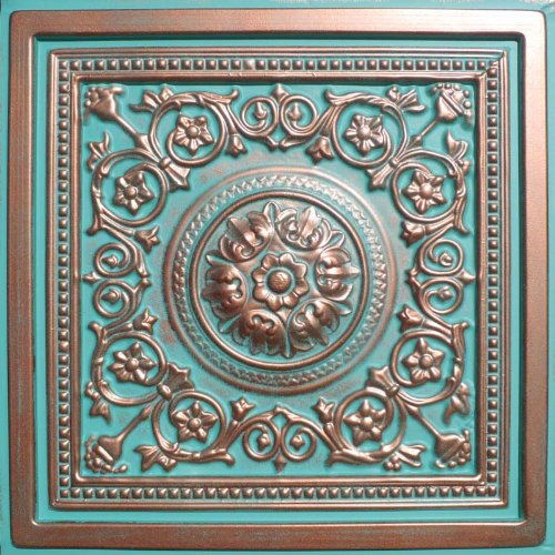 "Majesty Antique Copper Patina (24x24"" Pvc) Ceiling Tile"