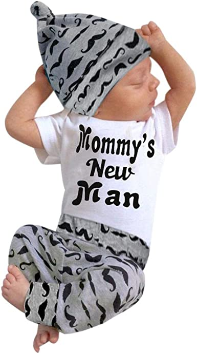 3PC Newborn Baby Boys Romper Jumpsuit Tops Long Pants Hat Outfits Clothes Set US