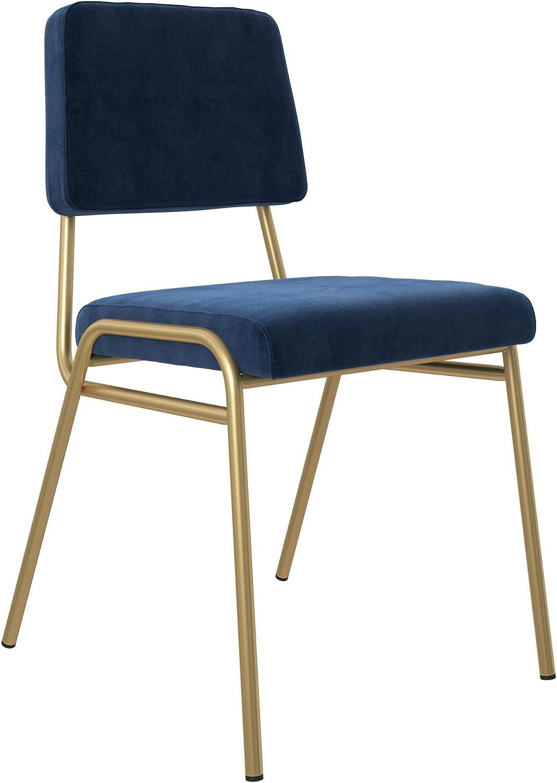 Novogratz Lex Upholstered Dining Chair, Gold Frame & Blue Velvet Upholstery