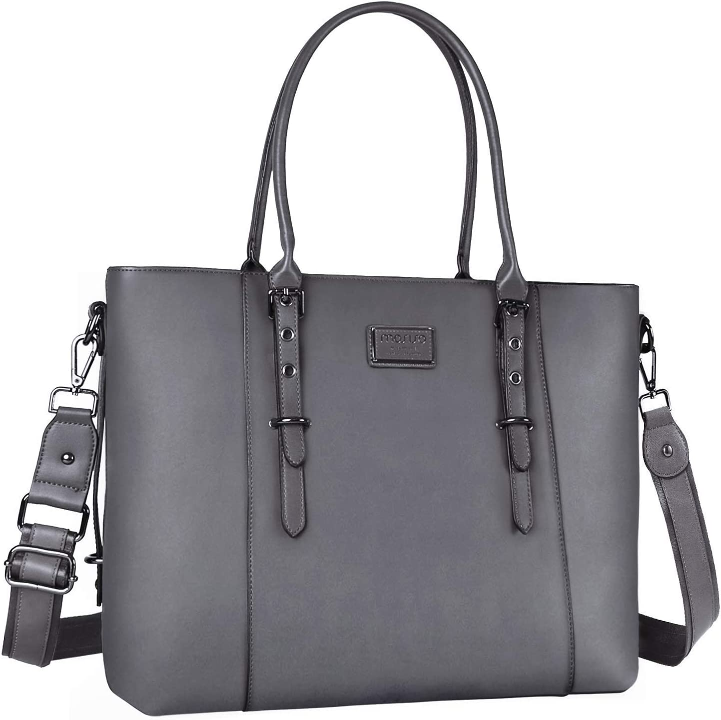 MOSISO PU Leather Laptop Tote Bag for Women (Up to 17.3 inch), Gray