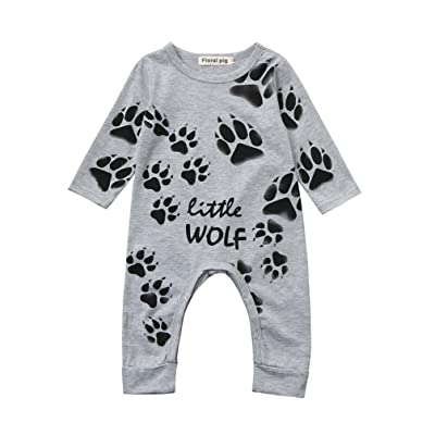 aliveGOT 6-18 Months Newborn Infant Baby Romper Paws Claws Print Long Sleeve Clothes Jumpsuit