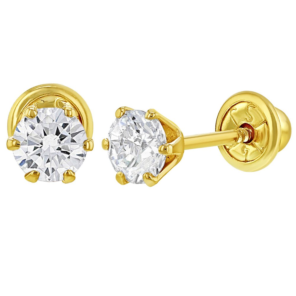 14k Yellow Gold Screw Back Earrings Solitaire Round Cubic Zirconia for Baby Girl 4mm In Season Jewelry YG-03-00018