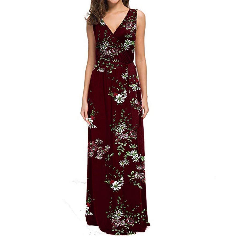 Women's Floral Dress Sleeveless V-Neck Dresses Long Party Club Beach Dress ❀Vine_MINMI❀ Blouse T-Shirt Dress Bodycon Red by Vine_MINMI Dress