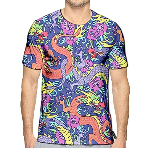 3D Printed T-Shirts Blue and Red Dragons Fighting in Flowers Short Sleeve Tops T