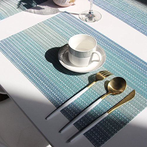 Placemats Washable Easy to Clean Pvc Placemat for Kitchen Table Heat-resistand Woven Vinyl Hard Table Mats 12x18 inches Set of 6 (Blue) by Bright Dream (Image #6)