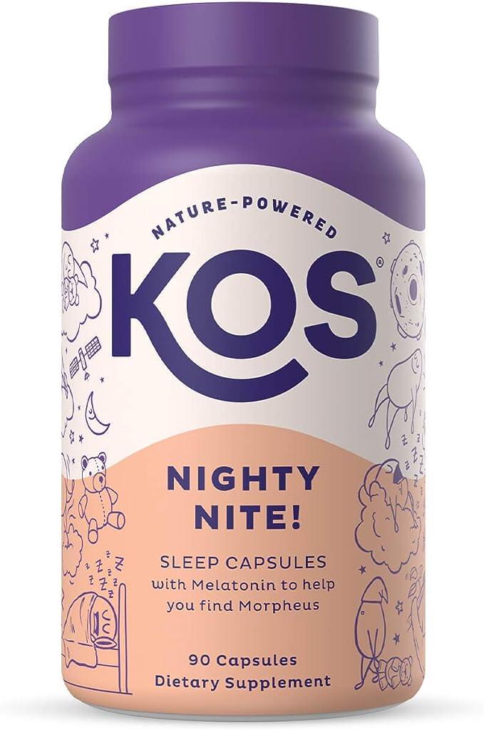 KOS Natural Sleep Aid Capsules - Sleep Supplement with Melatonin, KSM-66 Ashwagandha, GABA, L-Theanine, Glycine - 90 Capsules