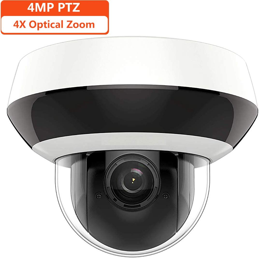 4MP HD PTZ Outdoor POE IP Camera OEM DS-2DE2A404IW-DE3, Pan Tilt 2.8mm 12mm 4X Optical Zoom, 4-Megapixel 2560×1440 ,Night Vision 20m,SD Card Recording,Audio Input Output,IP66 and IK10, H.265