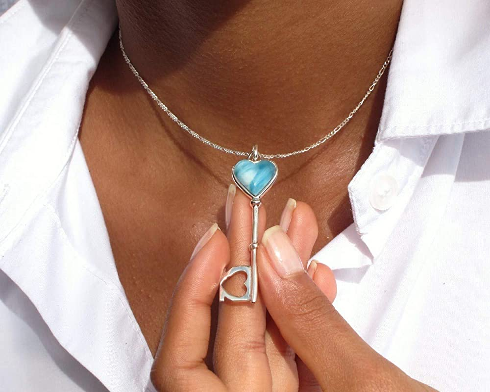 The Cloud Collection by The Larimar Shop CLOUD XX Handmade Larimar Jewelry for Women Larimar Heart Pendant Optional 925 Silver Chain