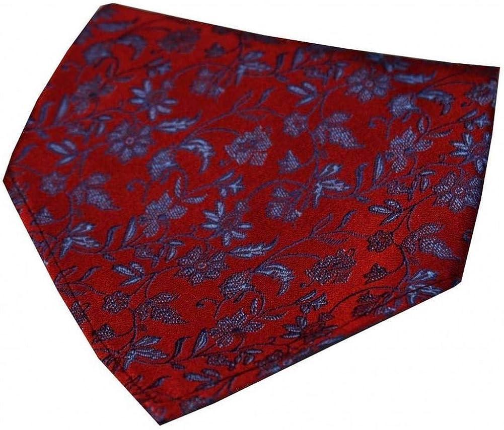 Red//Blue David Van Hagen Mens Small Flowers Silk Handkerchief