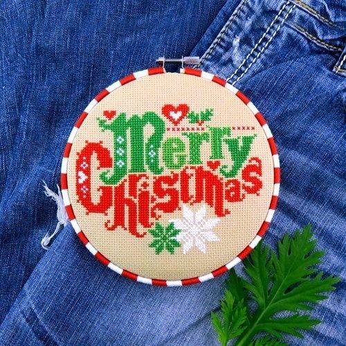 (Merry Christmas Sampler Cross Stitch Pattern - Chart Only)